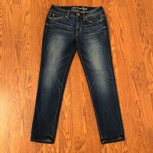 American Eagle Dark Wash Slouchy Jeans Size 0